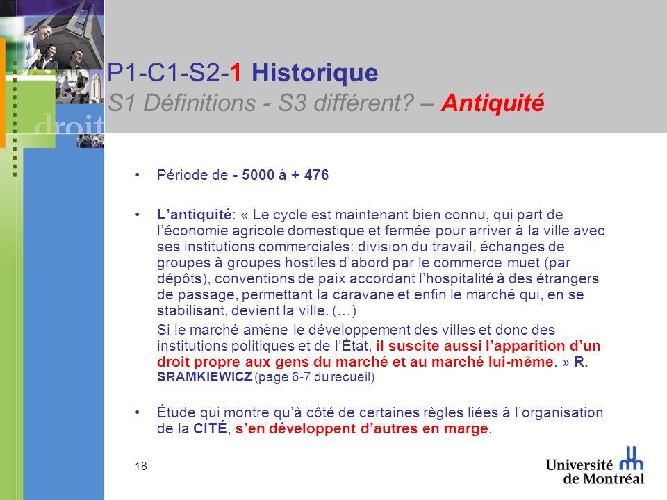 P1-C1-S2-1 Historique S1 Définitions - S3 différent – Antiquité