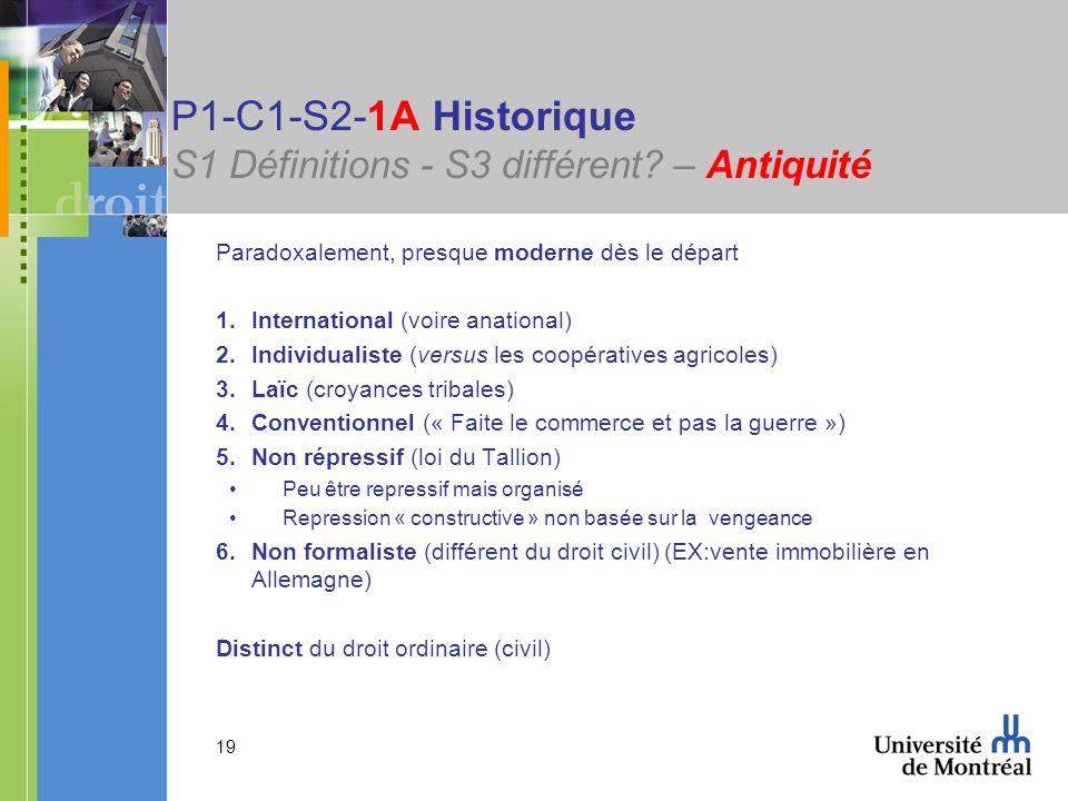 P1-C1-S2-1A Historique S1 Définitions - S3 différent – Antiquité