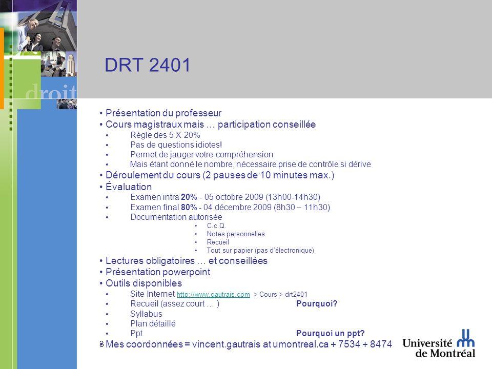 DRT 2401 Présentation du professeur