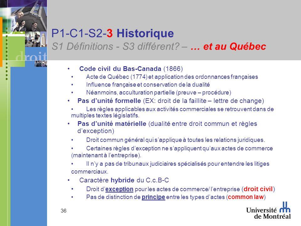 P1-C1-S2-3 Historique S1 Définitions - S3 différent – … et au Québec