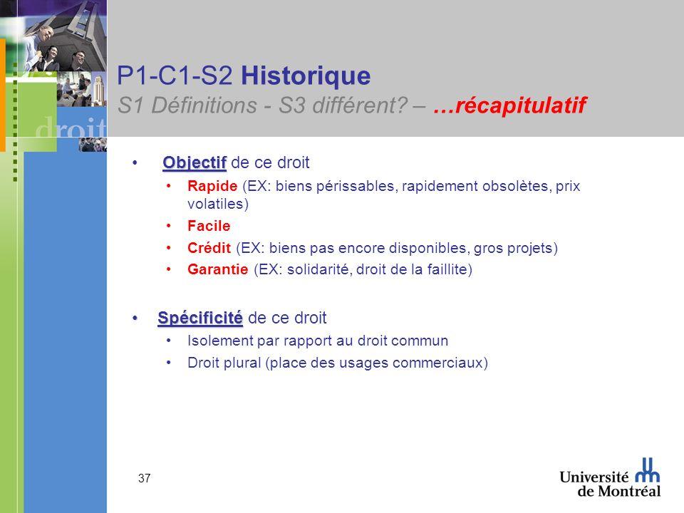 P1-C1-S2 Historique S1 Définitions - S3 différent – …récapitulatif