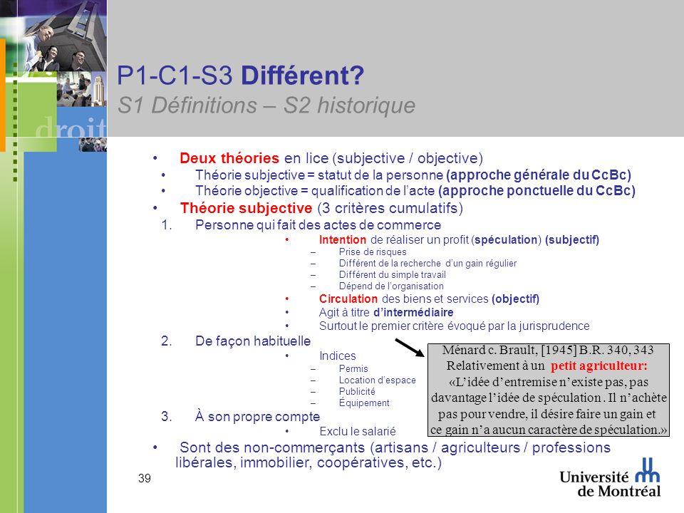 P1-C1-S3 Différent S1 Définitions – S2 historique