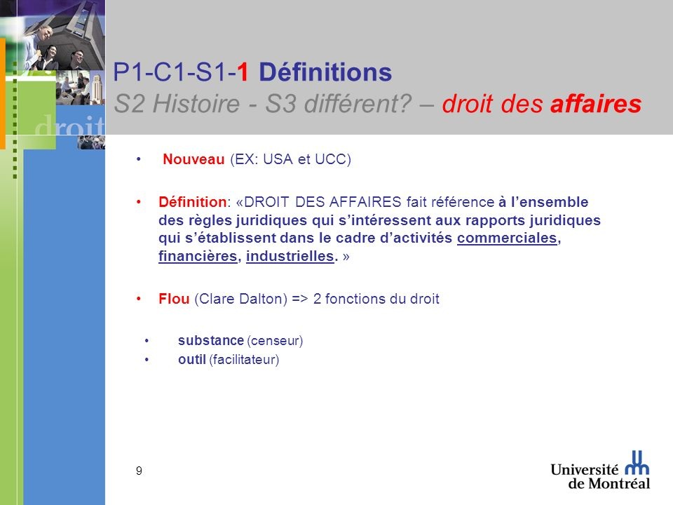 P1-C1-S1-1 Définitions S2 Histoire - S3 différent – droit des affaires