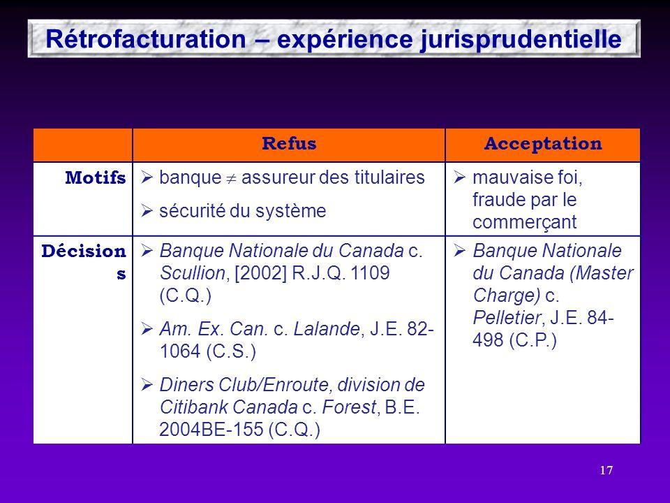 Rétrofacturation – expérience jurisprudentielle