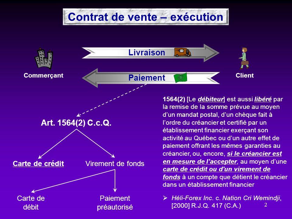 Contrat de vente – exécution