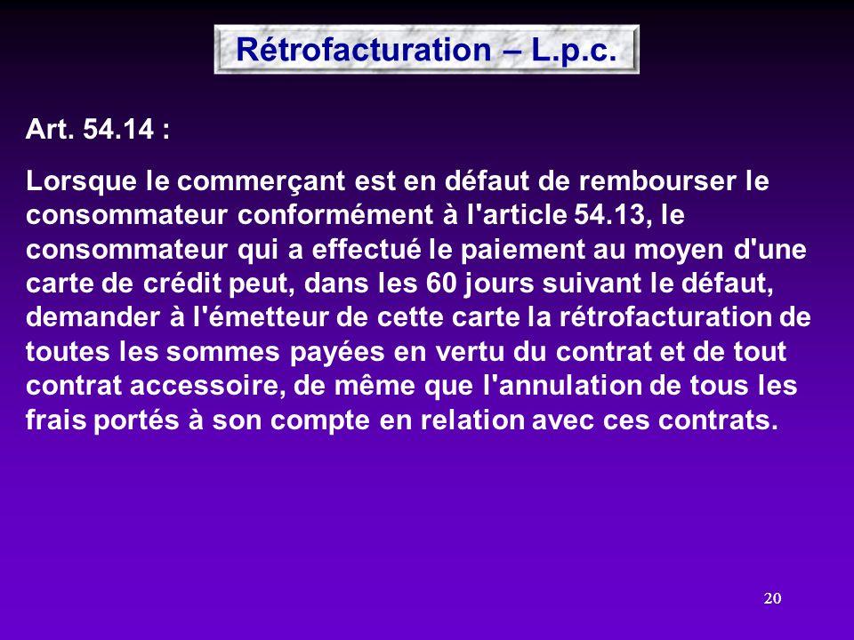 Rétrofacturation – L.p.c.