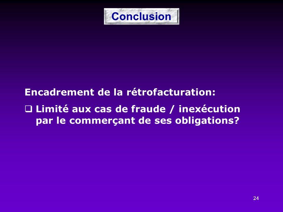 Conclusion Encadrement de la rétrofacturation: