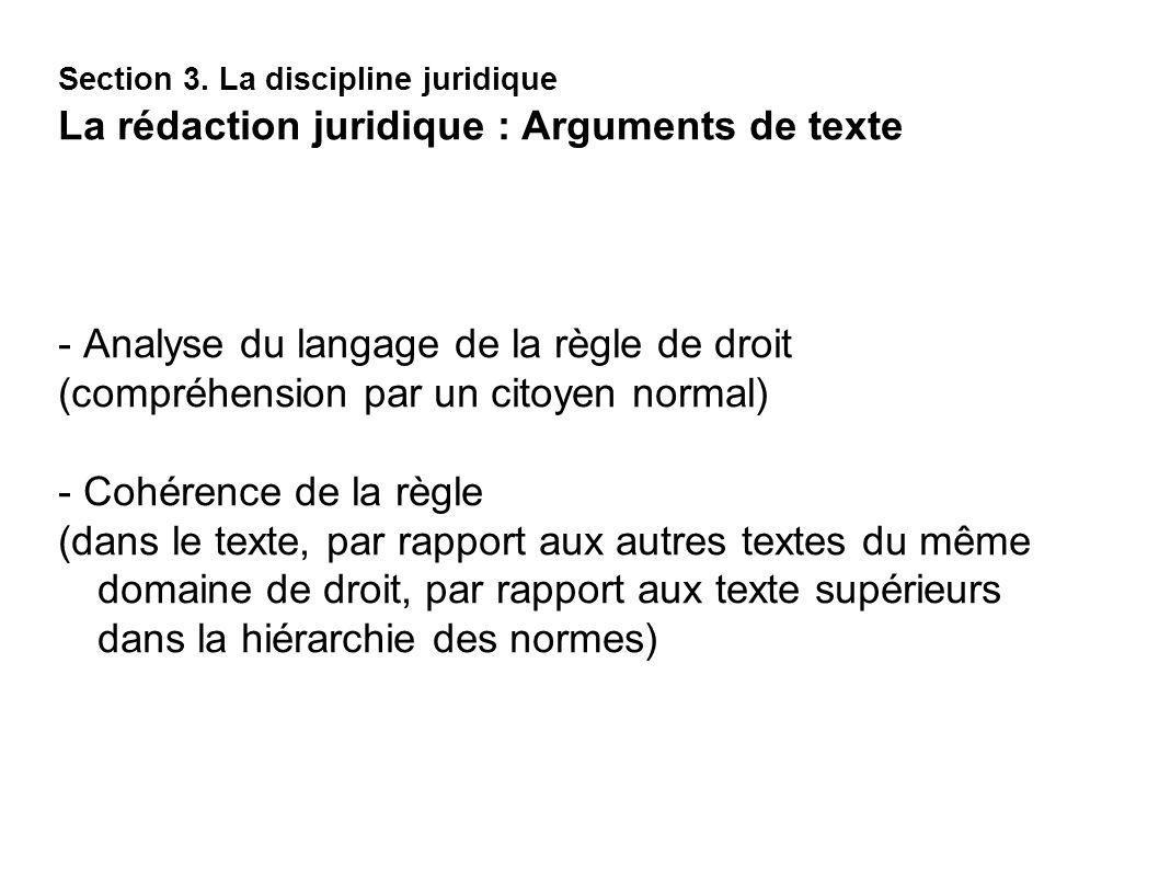 - Analyse du langage de la règle de droit