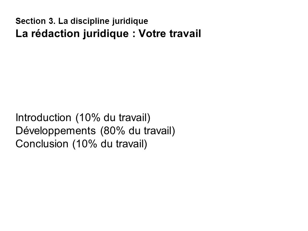 Introduction (10% du travail) Développements (80% du travail)