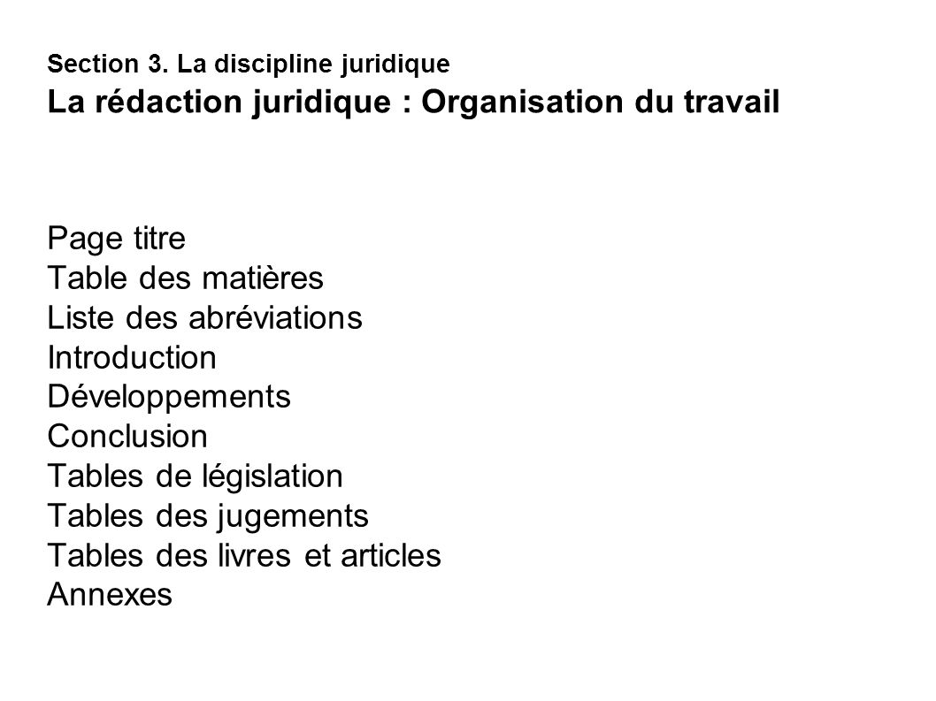 Liste des abréviations Introduction Développements Conclusion