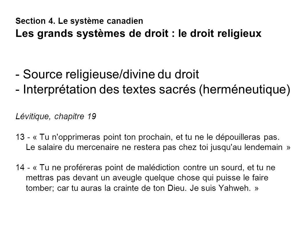 - Source religieuse/divine du droit