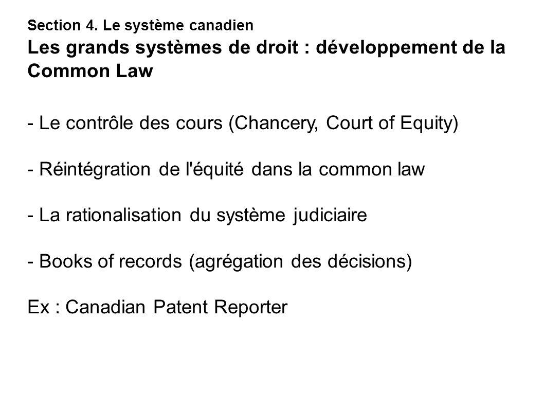 - Le contrôle des cours (Chancery, Court of Equity)