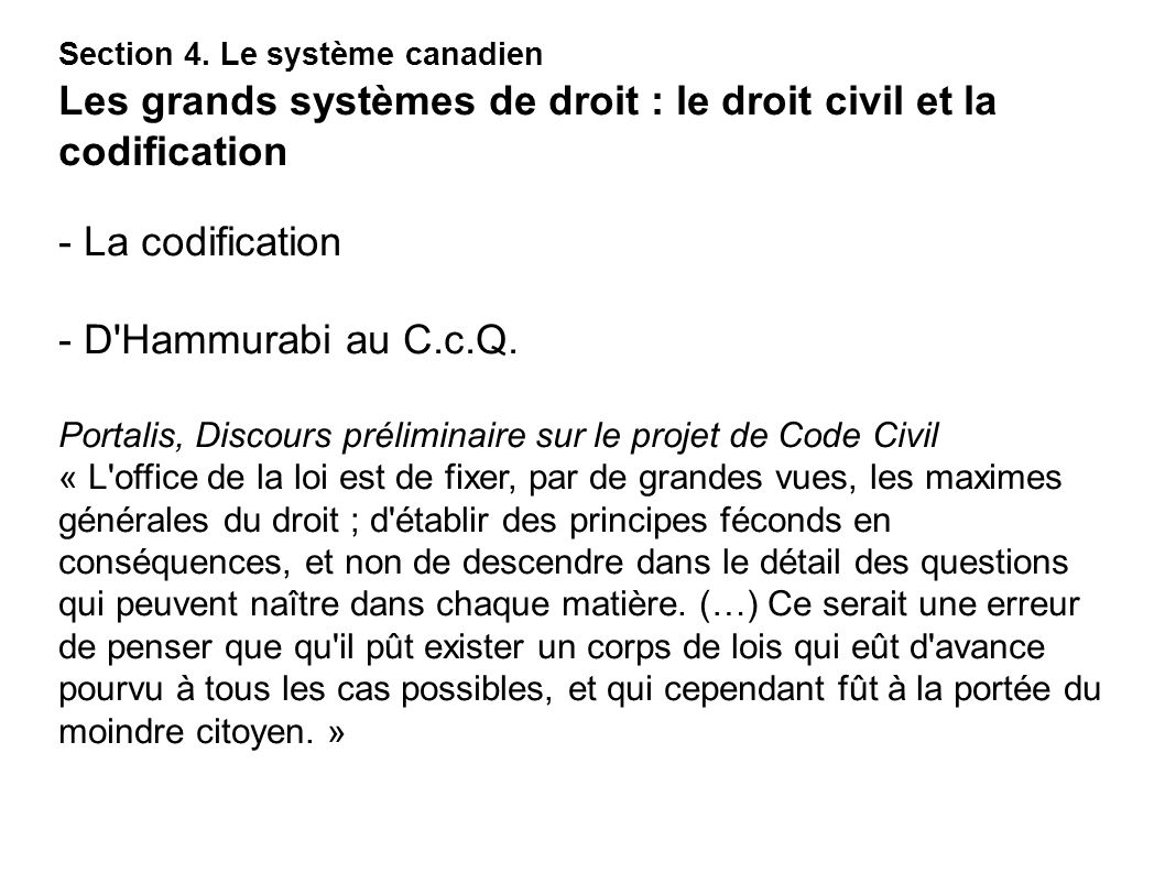 - La codification - D Hammurabi au C.c.Q.