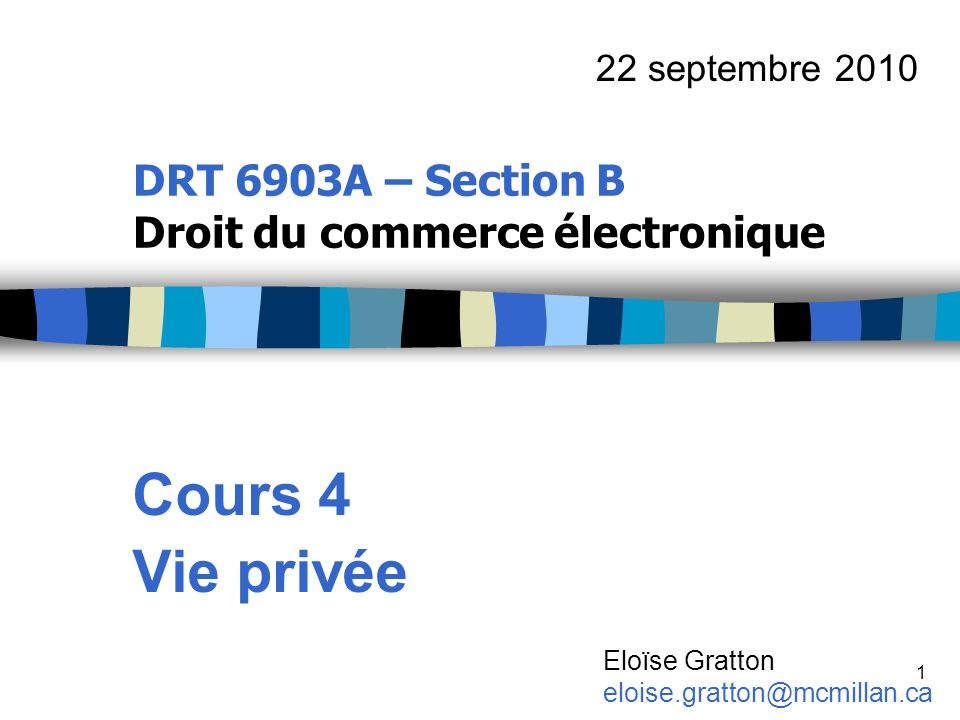 DRT 6903A – Section B Droit du commerce électronique