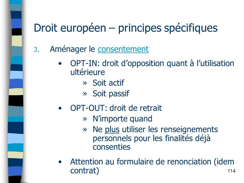 Droit européen – principes spécifiques