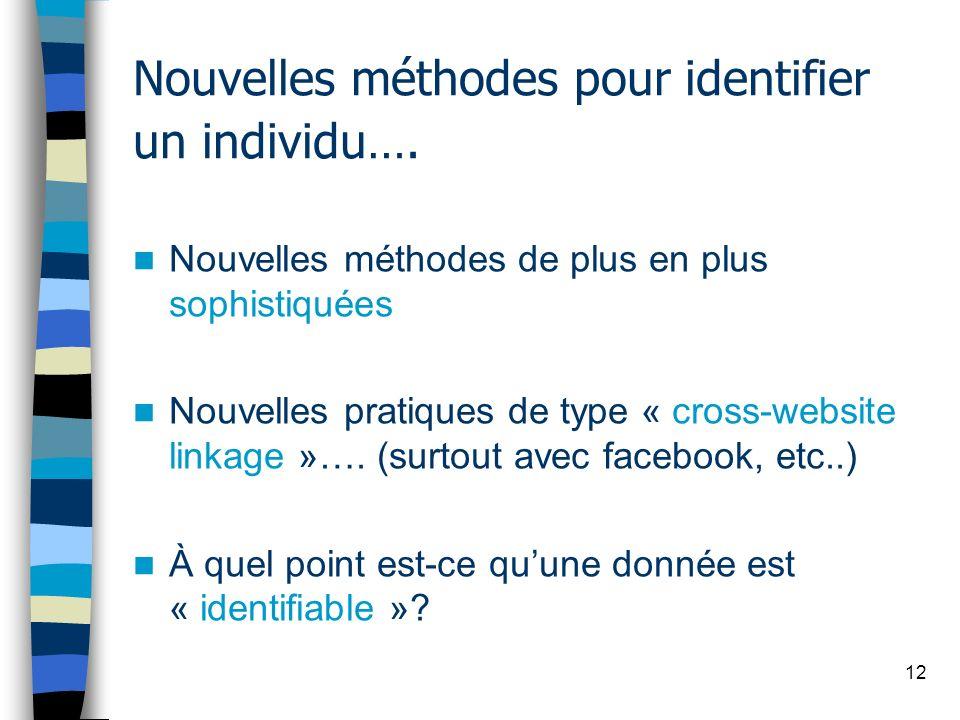 Nouvelles méthodes pour identifier un individu….