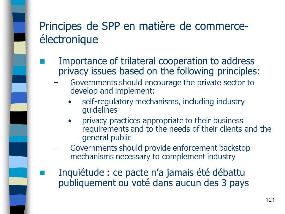 Principes de SPP en matière de commerce-électronique