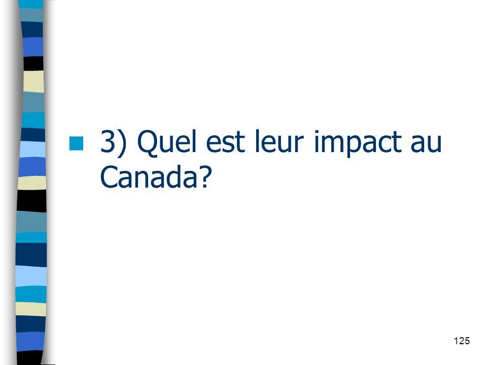 3) Quel est leur impact au Canada