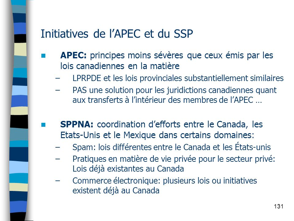 Initiatives de l'APEC et du SSP