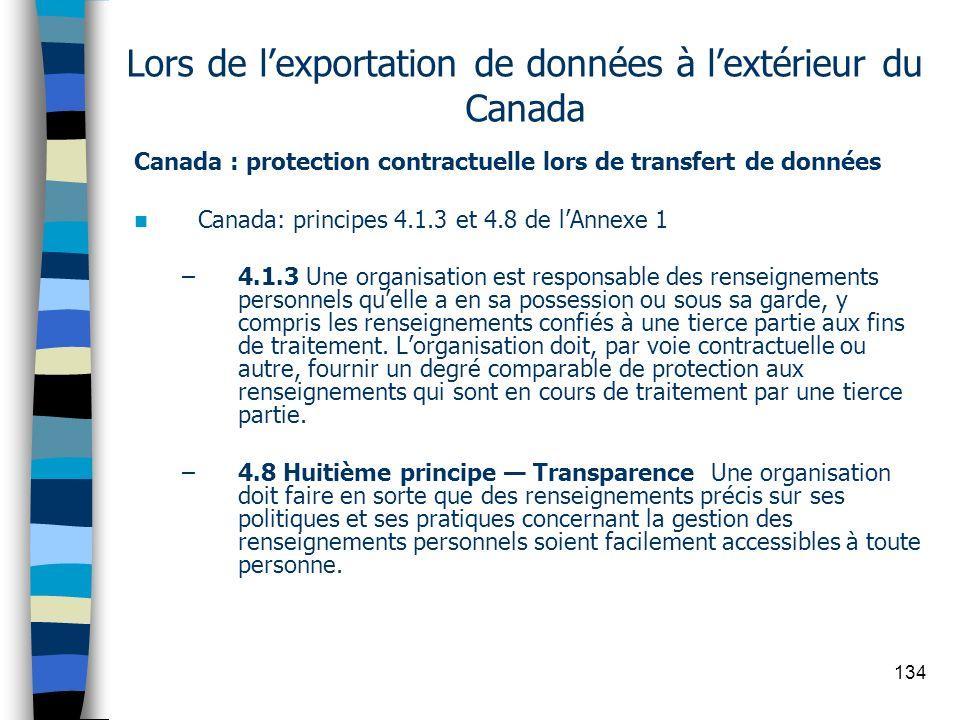 Lors de l'exportation de données à l'extérieur du Canada