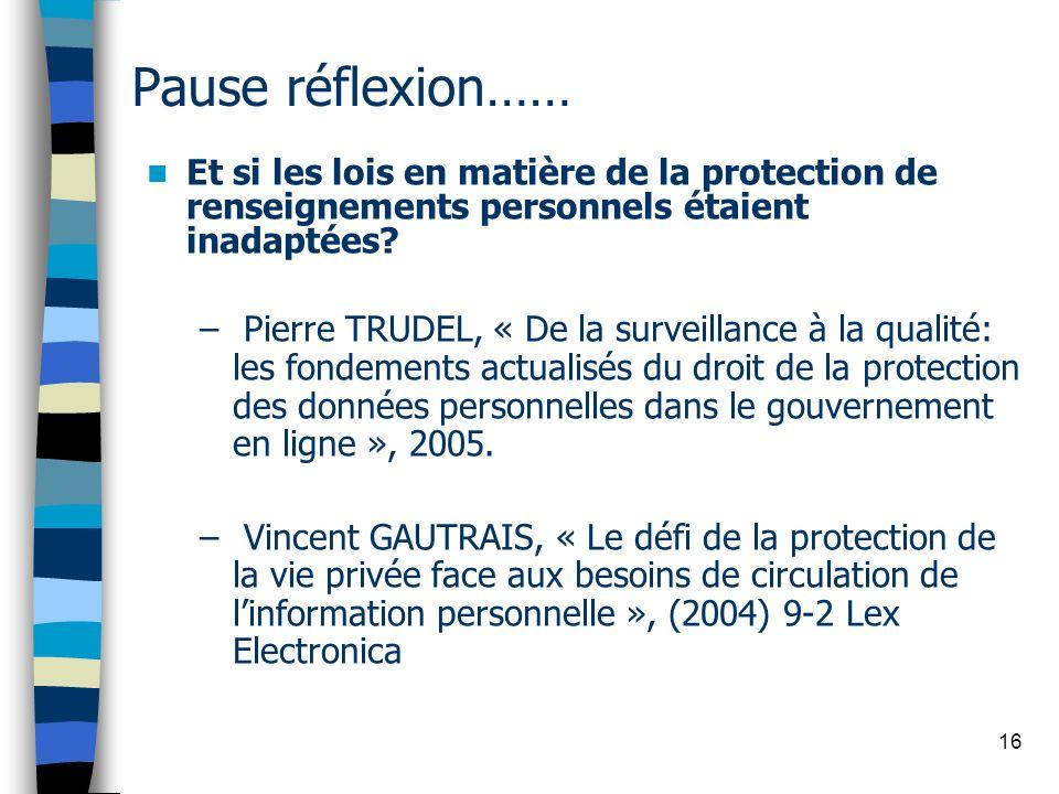 Pause réflexion…… Et si les lois en matière de la protection de renseignements personnels étaient inadaptées