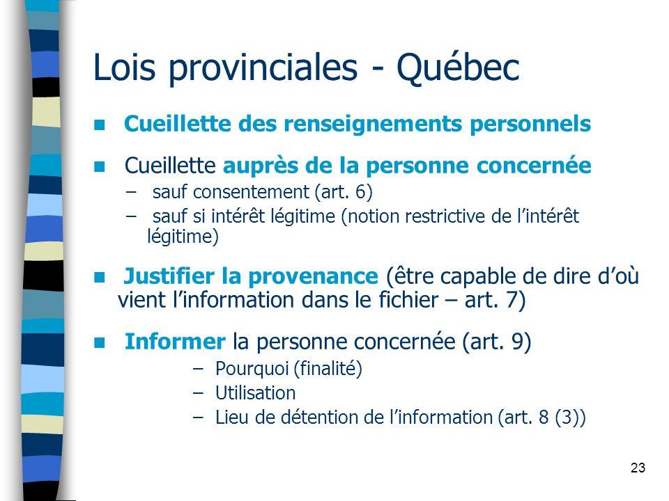Lois provinciales - Québec