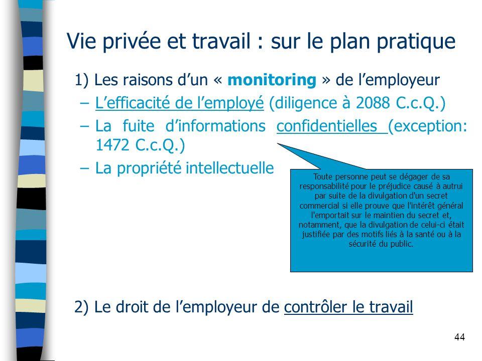 Vie privée et travail : sur le plan pratique