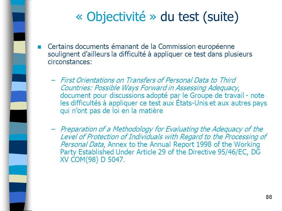 « Objectivité » du test (suite)