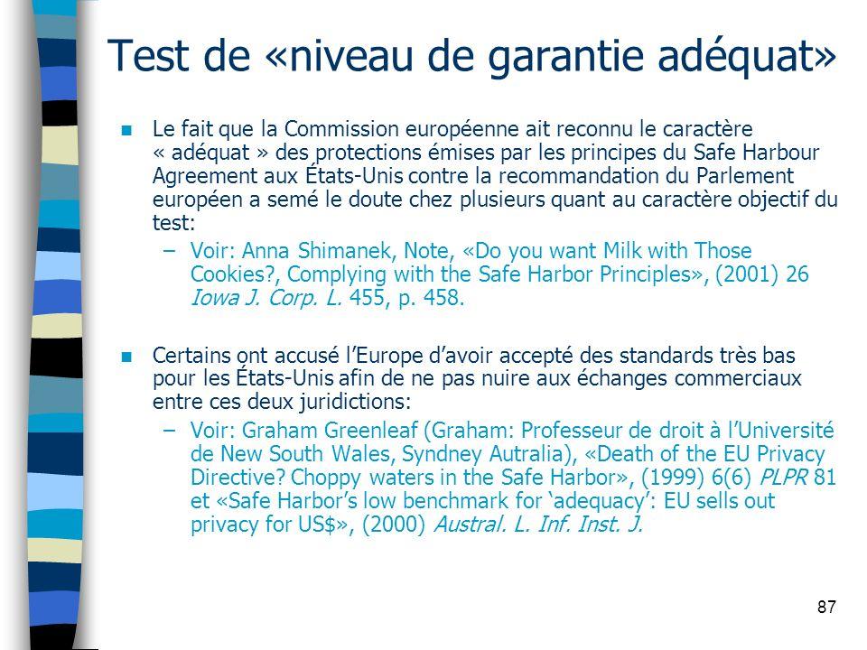 Test de «niveau de garantie adéquat»