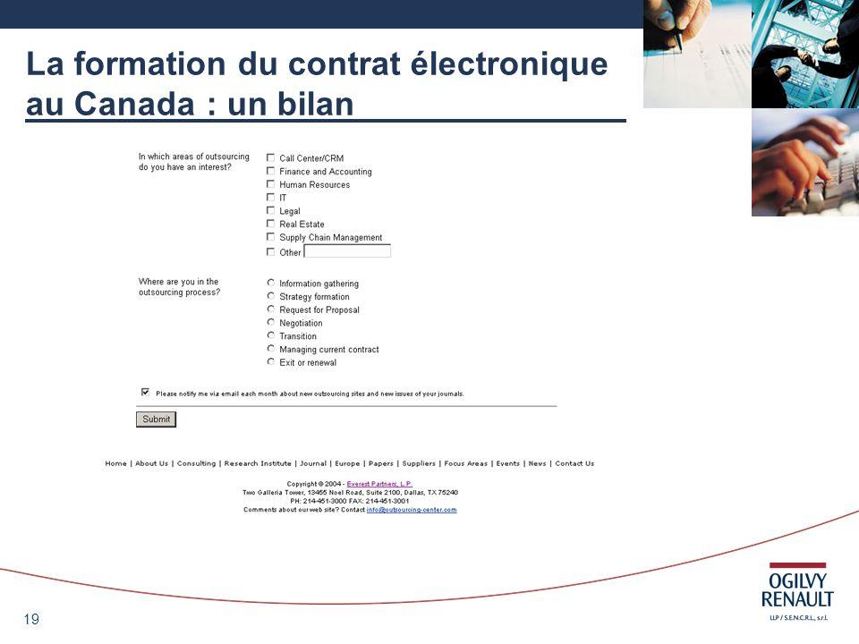 La formation du contrat électronique au Canada : un bilan