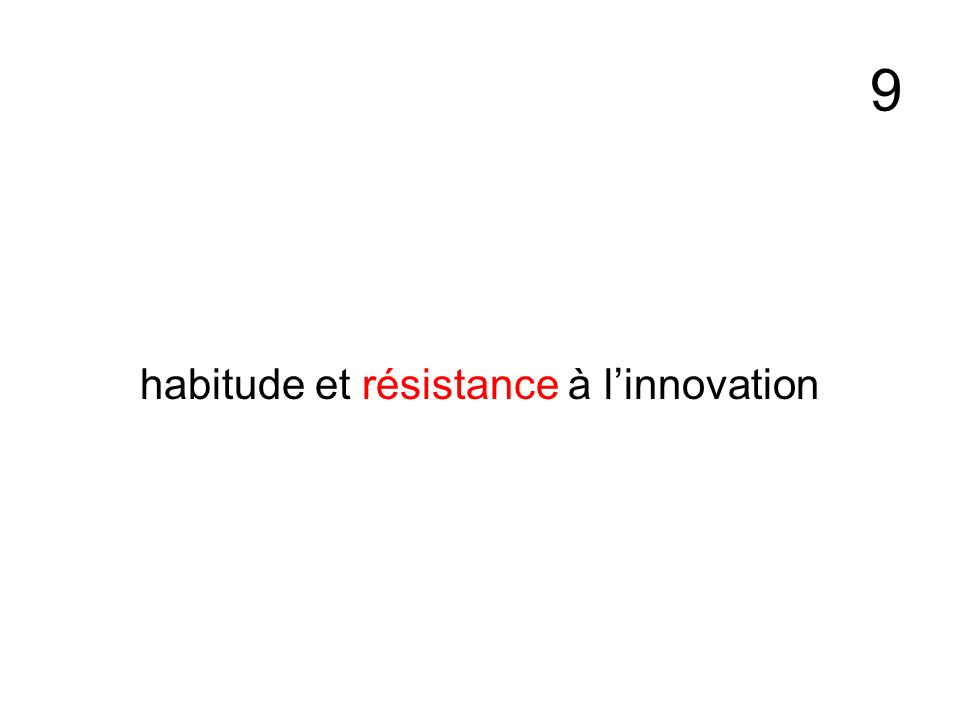 habitude et résistance à l'innovation