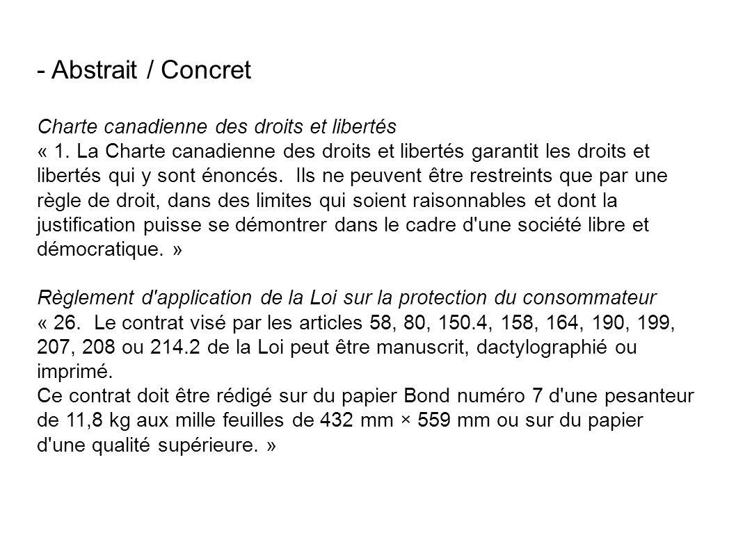 - Abstrait / Concret Charte canadienne des droits et libertés