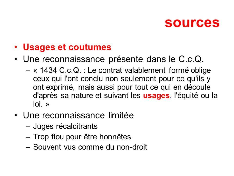 sources Usages et coutumes Une reconnaissance présente dans le C.c.Q.