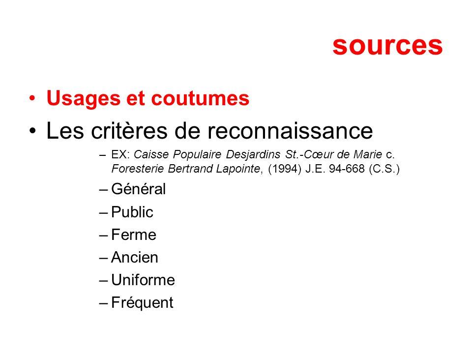 sources Les critères de reconnaissance Usages et coutumes Général