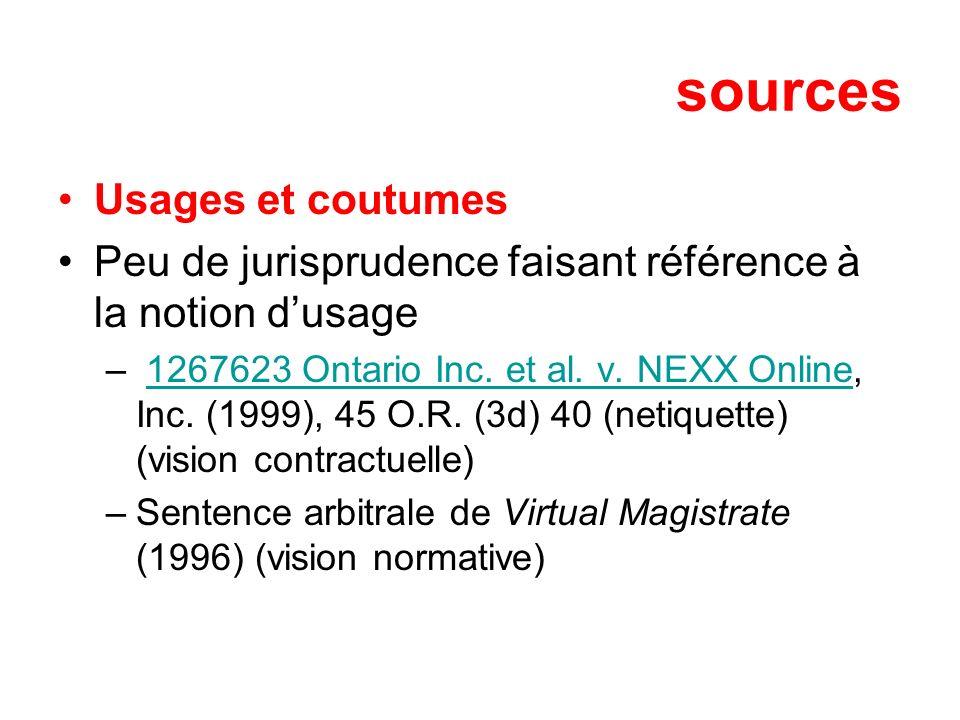 sources Usages et coutumes