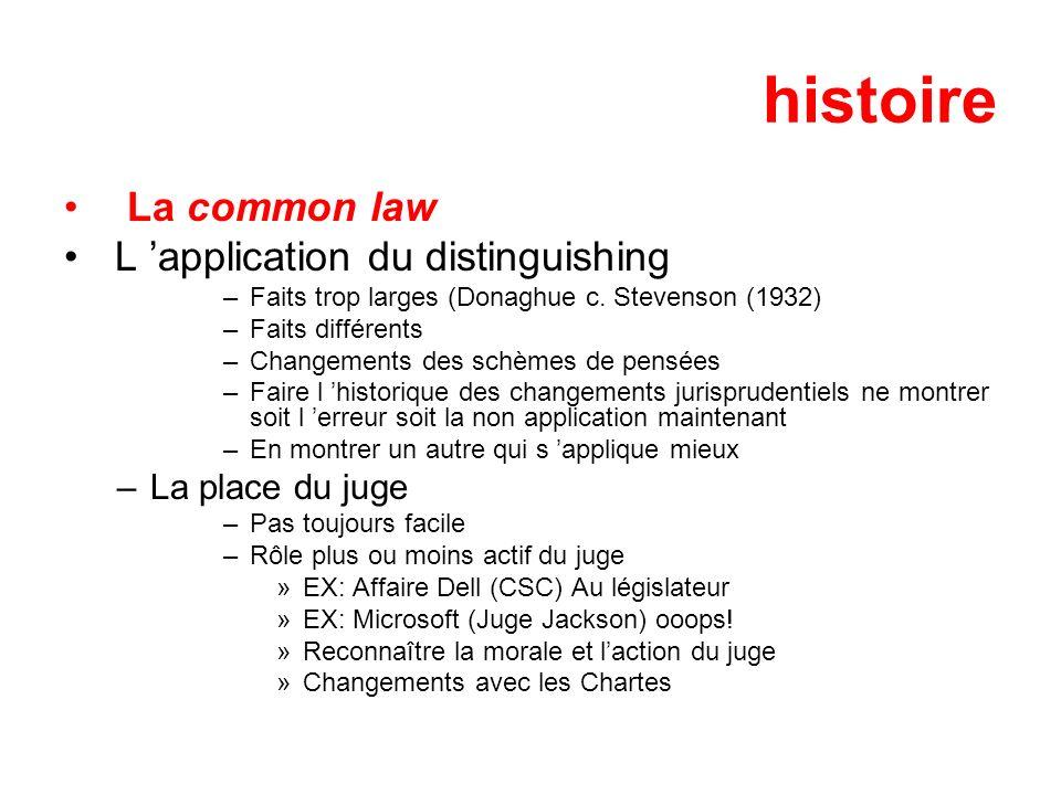 histoire La common law L 'application du distinguishing