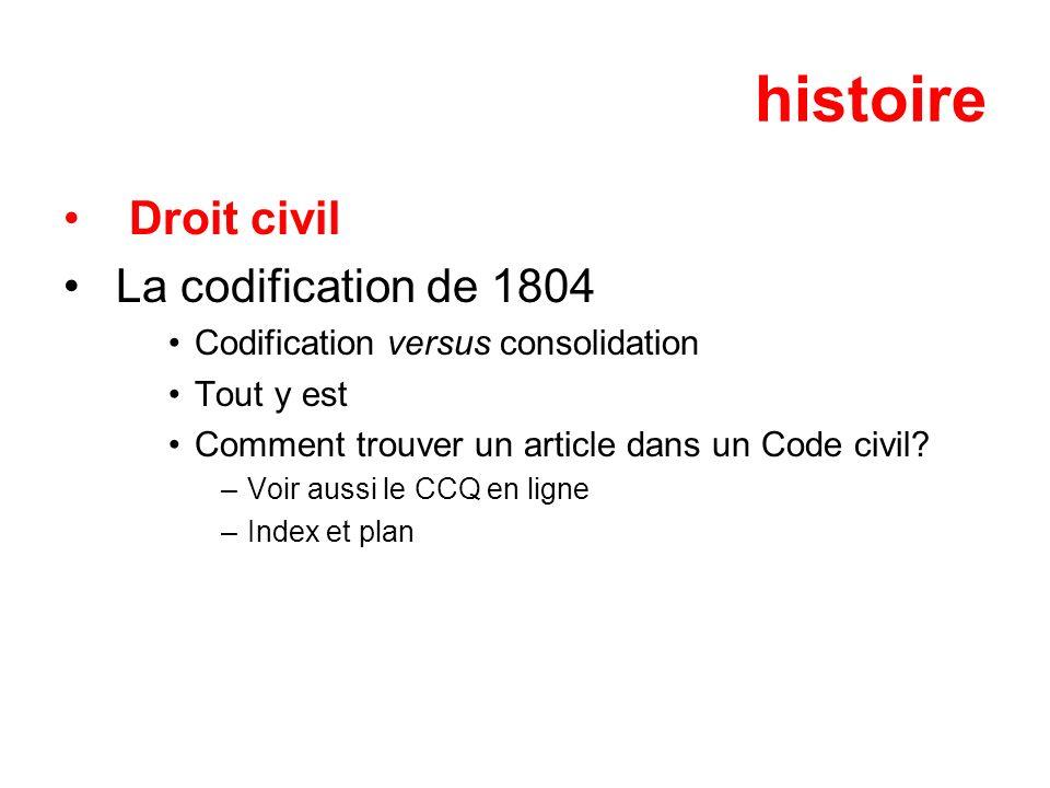 histoire Droit civil La codification de 1804