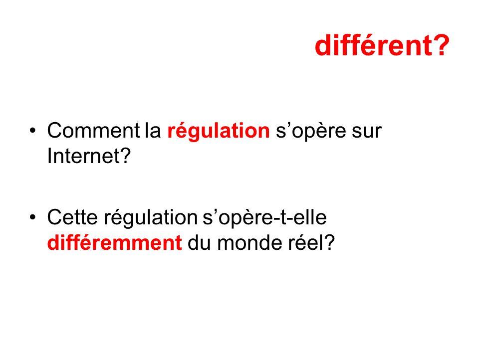 différent Comment la régulation s'opère sur Internet