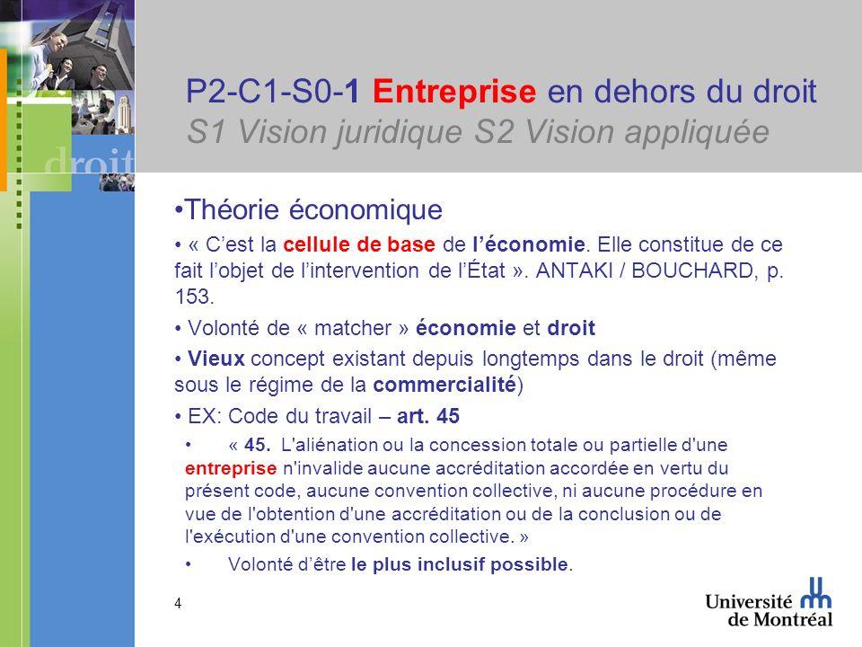 P2-C1-S0-1 Entreprise en dehors du droit S1 Vision juridique S2 Vision appliquée
