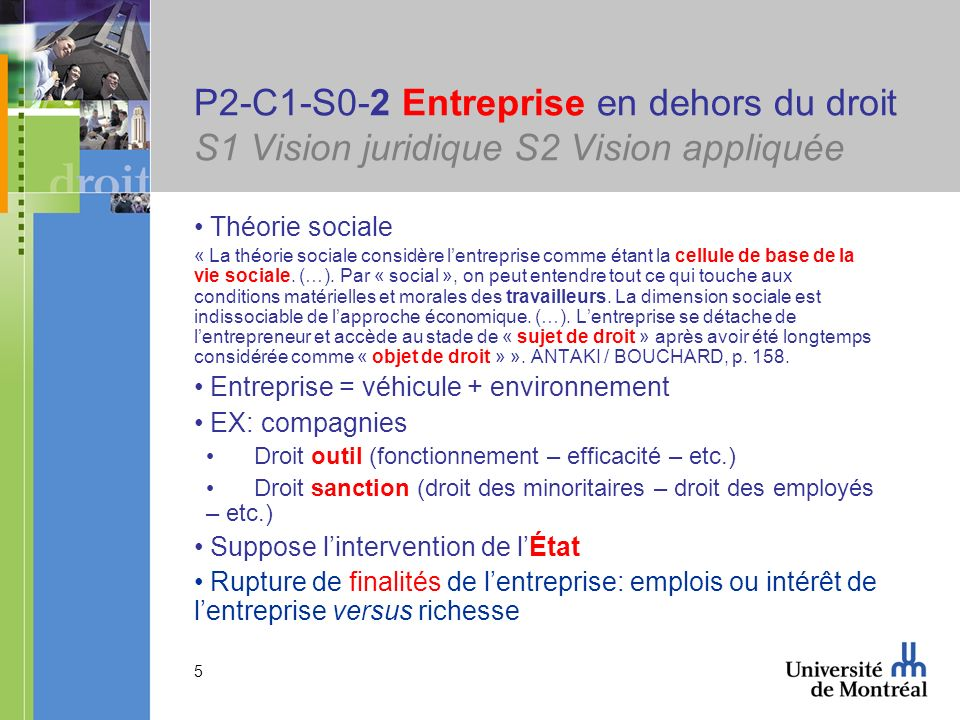 P2-C1-S0-2 Entreprise en dehors du droit S1 Vision juridique S2 Vision appliquée
