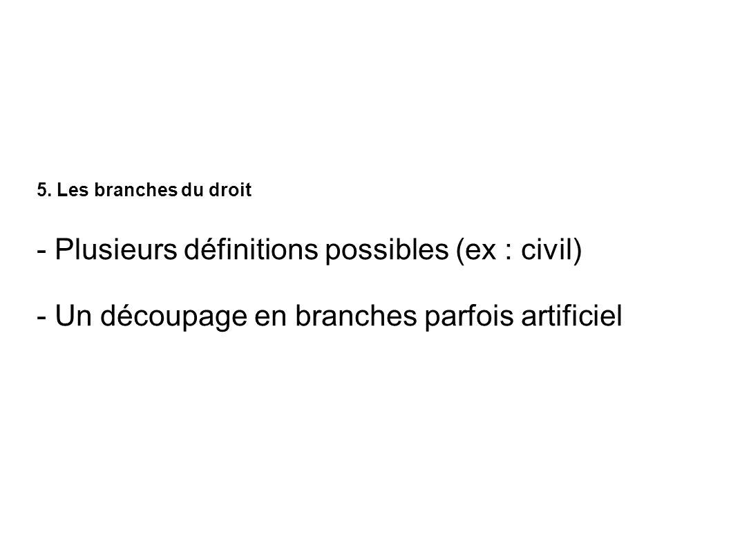 - Plusieurs définitions possibles (ex : civil)