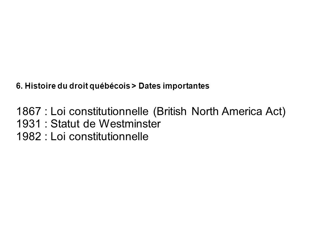 1867 : Loi constitutionnelle (British North America Act)