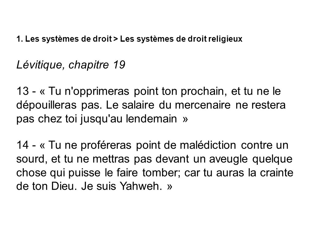 1. Les systèmes de droit > Les systèmes de droit religieux