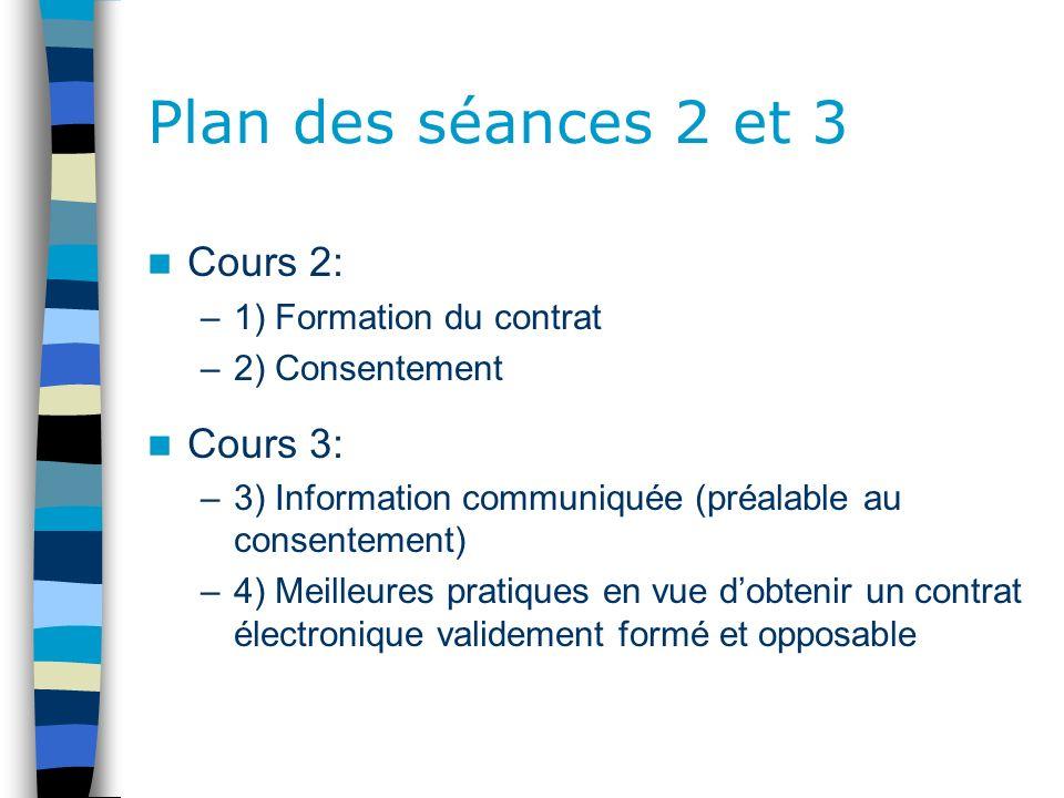 Plan des séances 2 et 3 Cours 2: Cours 3: 1) Formation du contrat