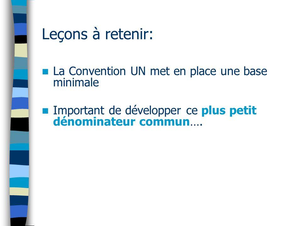 Leçons à retenir: La Convention UN met en place une base minimale