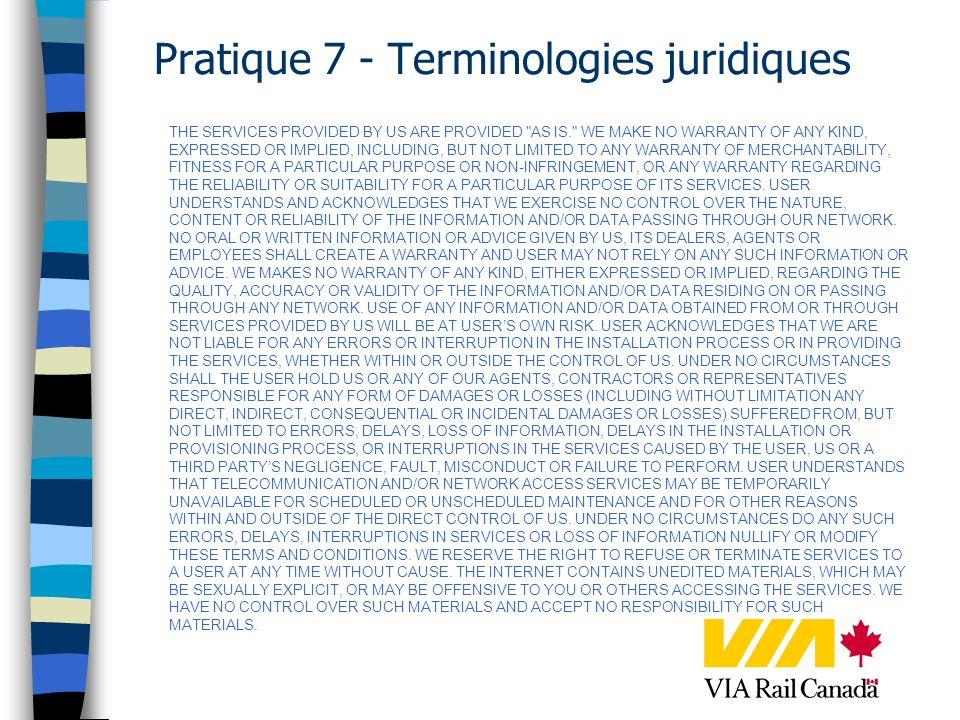 Pratique 7 - Terminologies juridiques