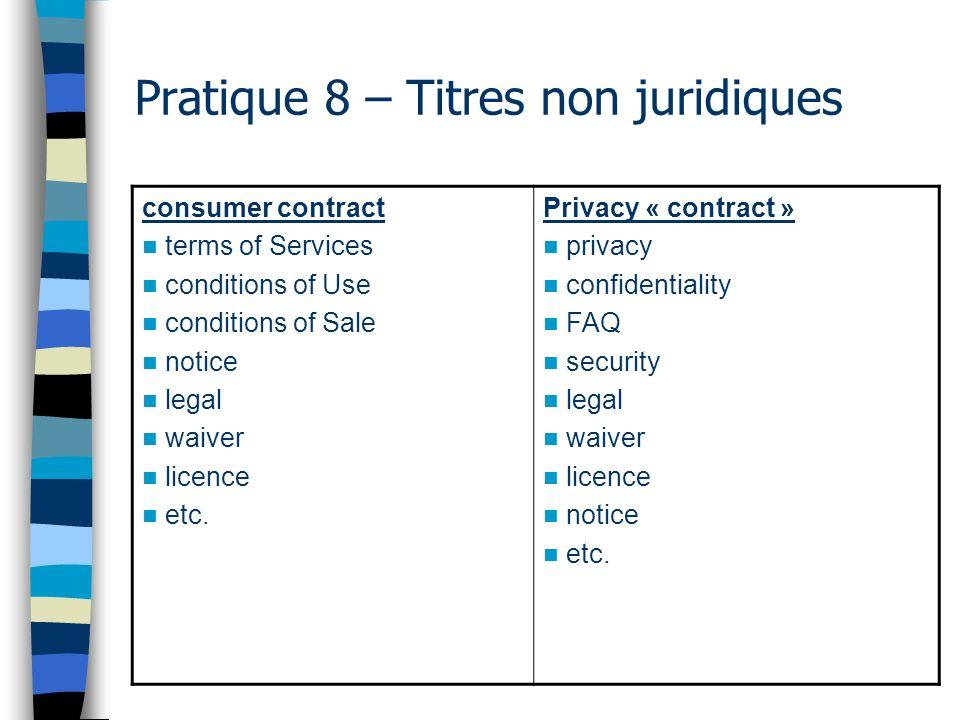 Pratique 8 – Titres non juridiques