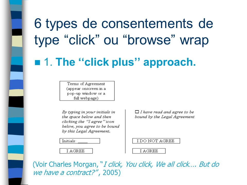 6 types de consentements de type click ou browse wrap