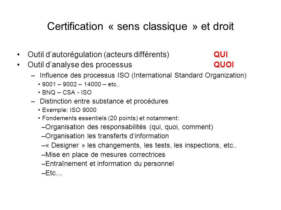 Certification « sens classique » et droit