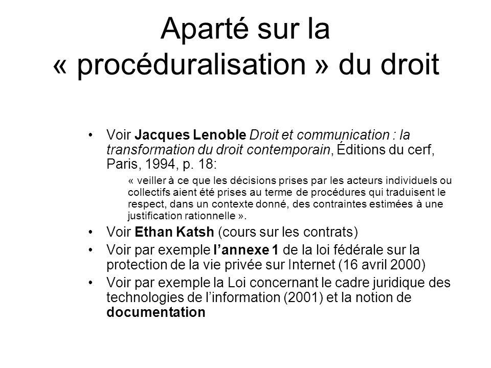 Aparté sur la « procéduralisation » du droit